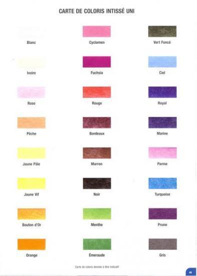 Carte de coloris intissé uni.